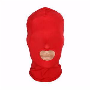 Red Spandex hood. Wet look Mask,  Black Spandex hood, party hood Size M