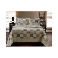King Size Set Comforter Quilt Country Farm Plaid Bedding Heirloom Stitched Set