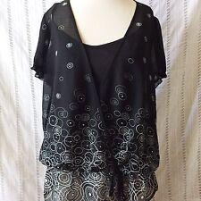 Lane Bryant Black White Swirl Sheer Blouse Top Shirt With Cami Lining Size 14/16