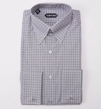 NWT $635 TOM FORD High Collar Gray Check Cotton Shirt Slim-Fit 15.5 French Cuffs