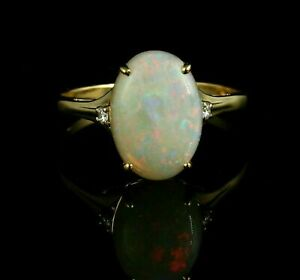 Round Cut 1.10Ct Natural Australian Opal Anniversary Ring In 925 Sterling Silver