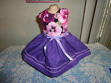 doll clothes dress for 18 inch american girl pink purple pansy rick rack 145