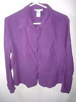 WOMENS PURPLE ANNA & FRANK 100% SILK OVER BLOUSE CAREER SHIRT TOP SIZE M 42