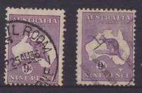 KANGAROO  1931-38 9d Violet  COFA WMK X2 USED SG 133  (HF29)