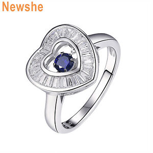 Newshe Gemstone Ring Round Cz Dancing Blue Sapphire 925 Sterling Silver AAA Sz 7