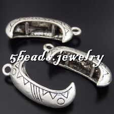 8x Vintage Silver Alloy Small Canoe Boat Pendants Findings Charms Crafts 50554