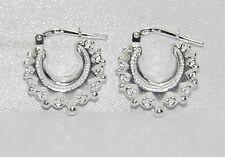 Sterling Silver 925 Victorian Gypsy Style Creole Hoop Earrings