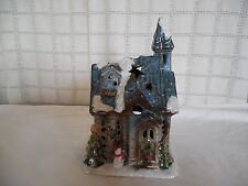 Charming winter, holiday, Christmas ceramic church tealight holder 9.5""