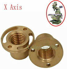 Set 2pcs Milling Machine Tools X Axis Longitudinal Brass Feed Nut For Bridgeport