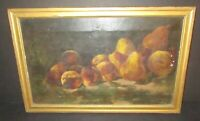 Antique Pears & Peaches Oil Painting 19th Century Still Life Signed 1895 Framed