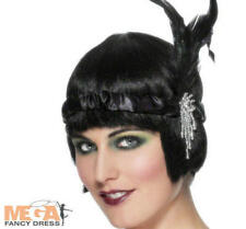 Charleston Flapper Fancy Dress Black Feathered Headband Ladies 1920s Costume Acc