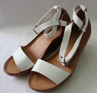 EOS ~ Camel Tan White Leather Peep Toe Wedges w Ankle Strap Side Buckle 39 New