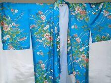 "Vintage HAYASHI 100% Silk Turquoise Floral Long Kimono (Never used) 56"" long"