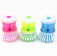 Dish Brush with Washing Up Liquid Soap Dispenser Pot Clean Brush Kitchen Utensil