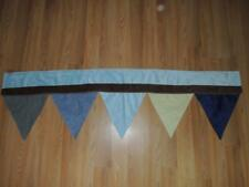 NOJO AHOY MATE VALANCE FLAGS BLUE GREEN BROWN FAUX SUEDE PLUSH