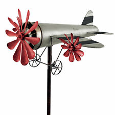 Windspiel Flugzeug Metall-Windrad ROSINENBOMBER Silber-Rot Gartendeko