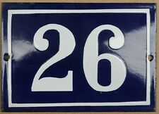 More details for large old blue french house number 26 door gate plate plaque enamel steel sign