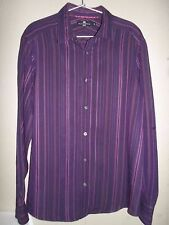 MARKS AND SPENCER SOFT TOUCH PURPLE & PINK STRIPED SHIRT SIZE S