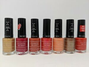 Lot of  7 Revlon Colorstay Gel Envy Nail Polish; Red; Orange; Shimmer