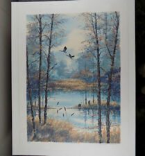 """Steve Bloom lithograph 'Meadow Pond' with Ducks signed numbered print 40"""" x 30"""""""