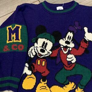 Mickey Mouse Knit Sweater Boys Medium Vintage 90s Disney Goofy Pullover Retro