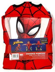 Marvel Spiderman Beach Bath Poncho Hooded Towel Superhero Kids Birthday Gift