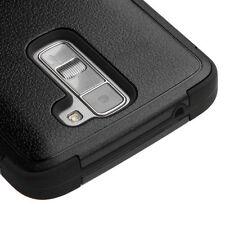 For LG Phoenix 2 / Escape 3 - BLACK TUFF ARMOR SHOCKPROOF SKIN COVER PHONE CASE
