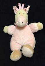 "Jellycat Zig Zag Pony Soft Toy Pink Plush Gingham 9"" White Horse Stuffed"