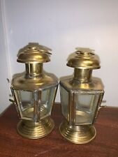 Pair of Retro Brass Candle Lanterns