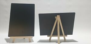 A4 SIZE -TABLE TOP -CHALKBOARD ON WOODEN EASELS + 8 LIQUID CHALK PENS (SS)