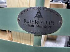 "RARE! Vintage Aspen Colorado Skiing Company Ski Lift Chair ""Ruthie's Run"""