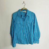 LL Bean Womens Top Blouse Button Down Shirt Blue Red Striped Size Medium