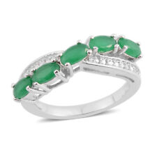 Simulated Emerald Silvertone Cross Over Ring (Size 5.0) TGW 1.05 cts.