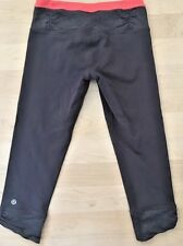 LULULEMON PURE BALANCE CROP PANTS Gray w Coral size 4 Gym Running Spin Yoga Fun