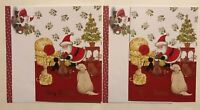 New Vintage Christmas Cards Santa In Red Gifts Cats Dogs Tree Gold Glitter Puppy