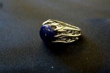 Turquoise Lapis Lazuli Ring - Carved Leaf Sterling Silver - Size 8 - Vintage