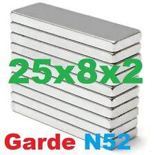 25x8x2 mm (N52) Neodymium Magnet Thin Rectangular Bar Magnet (various pack size)