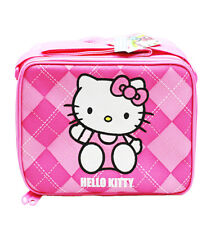 Hello Kitty Argyle Lunch Bag Pink Insulated Lunchbox, for Girls/ Kids New