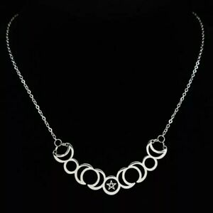 Stainless Steel Sun Moon Pentagram Pendant Necklace Witch Wicca Goddess UK