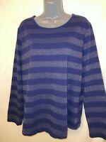 Liz Claiborne women's size 1X t-shirt Blue Metallic Stripe Scoop Neck