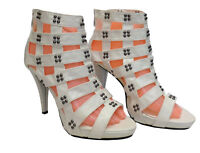 Ladies Womens White Peep Toe Strappy Stud Gladiator High Heel Zip Up Shoes Size