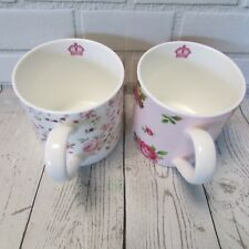 Royal Albert Floral Mugs 2 Cup Set Rose Confetti New Country Roses Pink White