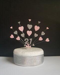 Heart glitter Birthday cake topper, handmade personalised age  (18, 21, 90 etc)