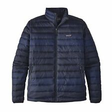 NEW IN BAG Patagonia Men's Down Sweater Jacket Coat- Distressed Stripe - Blue -S
