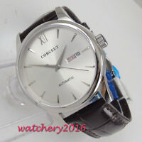 40mm corgeut white dial day date sapphire glass miyota automatic mens Watch