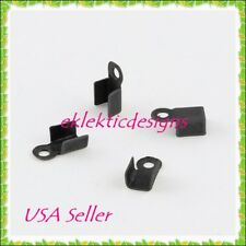 100pc Gunmetal Black Folding Cord End Caps Crimps Tips 6x3.mm Findings Necklace