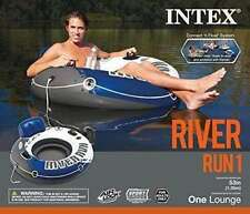 Inflatable Floating Tube Raft Lake River Water Pool Float w/ Backrest Cupholder