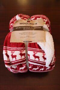 woolrich velour berber sherpa back blanket queen 90x90 nwt red reindeer