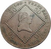 1807B AUSTRIA Holy Roman Emperor Franz II Antique Genuine 30 Kreuzer Coin i79452
