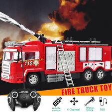 RC Feuerwehrauto Fernbedienung Spielzeug mit Licht Sirene Wasserspritz Musik LED